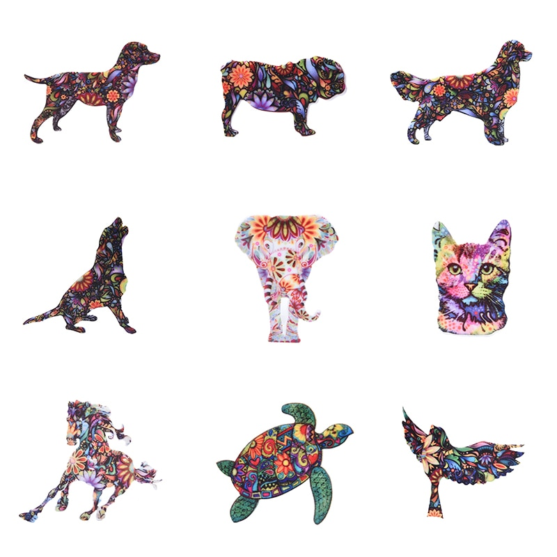 Moda acrílico animal elefante gato broche cão cavalo pássaro broche para as mulheres pino emblemas vestido casaco acessórios jóias
