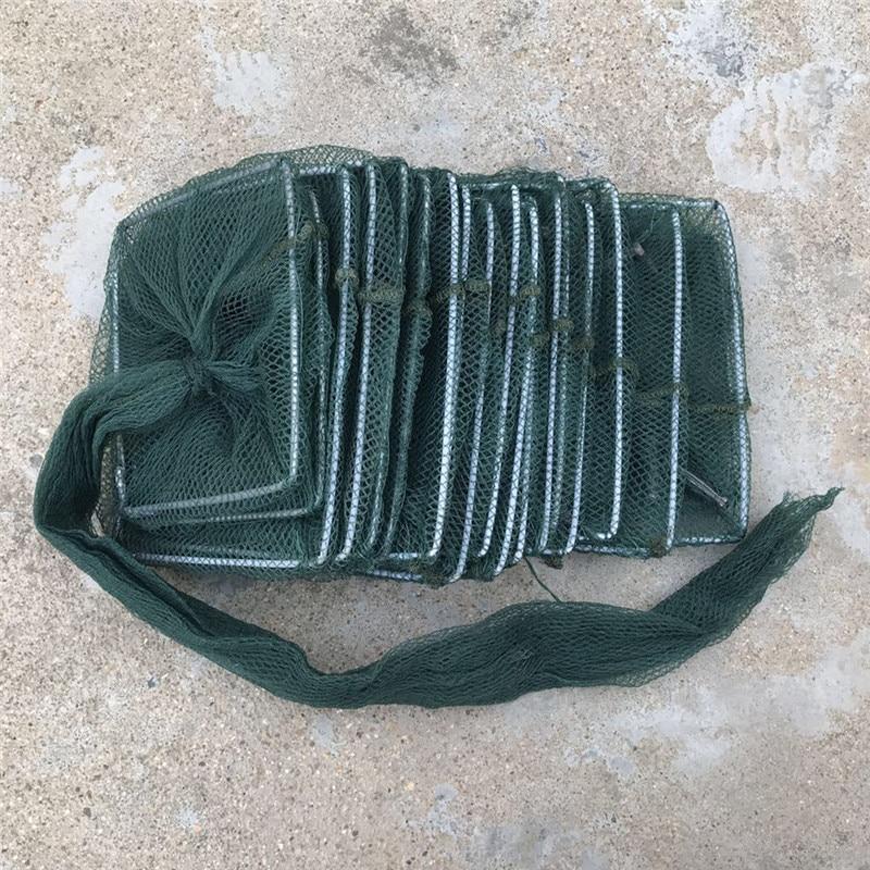 1 ud. Red de pesca de Nylon cangrejo langosta receptor vivo trampa red de pesca plegable portátil red de pesca Anguila gambas redes de señuelo