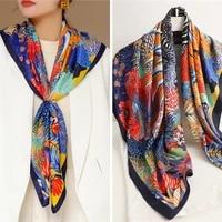 2021 new trendy colorful print silk satin scarf hijab for women foulard handkerchief ladies shawl wrap headband muffler 9090cm
