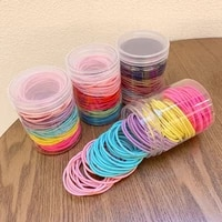 100pcsbox girls colorful basic elastic hair bands ponytail holder scrunchies kids hair ropes rubber bands hair accessories
