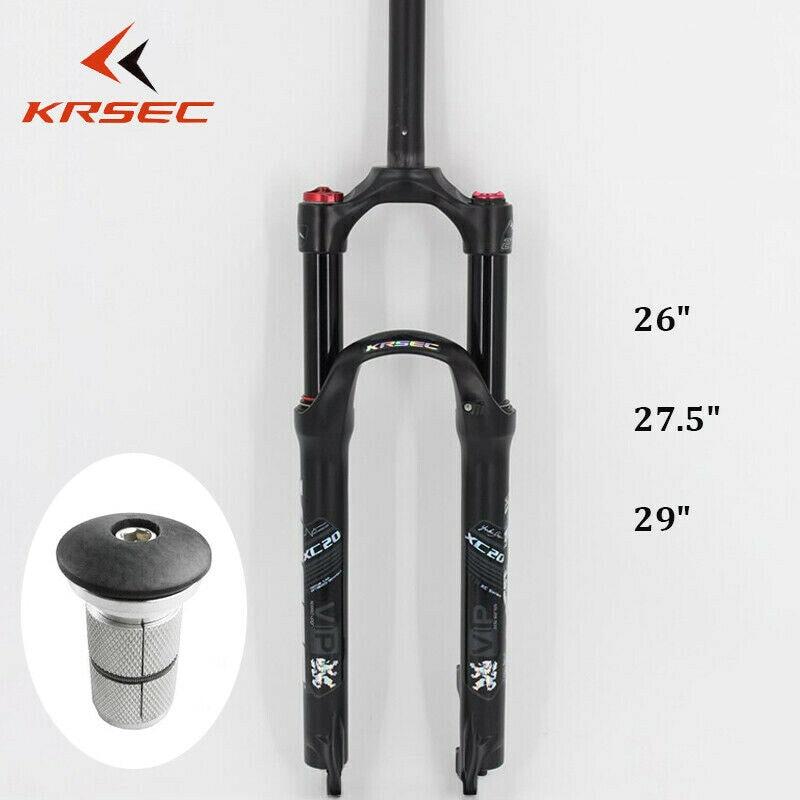Garfos de Suspensão MTB KRSEC 1-1/8 26/27.5/29 polegadas Ultraleve garfos De Ar Manual de Bloqueio Do Tubo Em Linha Reta Rígida Garfo Freio A Disco De Bicicleta Gordura