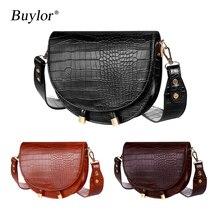 Buylor Women Luxury Shoulder Bags Crocodile Pattern Handbag Female Crossbody Bag Half Round PU Leath