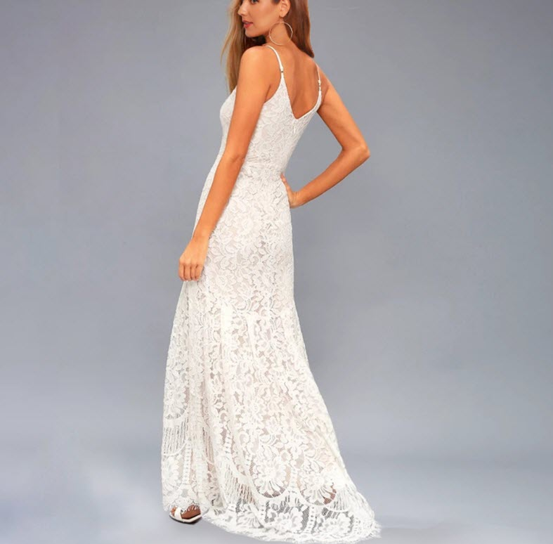 Charming white wedding dress Fashionable lace wedding skirt Women party wear Evening dress Opening ceremony clothes enlarge