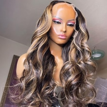 Highlight Wig Human Hair 13x4 Body Wave Lace Front Human Hair Wigs Brown and Black Hightlight Closur