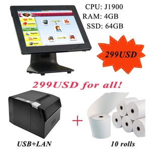 ComPOSxb high quality pos all in one 15 inch capacitive touch screen pos system cash register 80mm printer with thermal paper