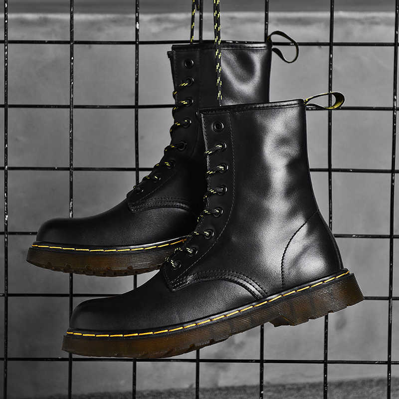 New Genuine Men Martins Leather shoes High Top Fashion Winter Warm Snow shoes Dr. Motorcycle Ankle Boots Couple Unisex boots