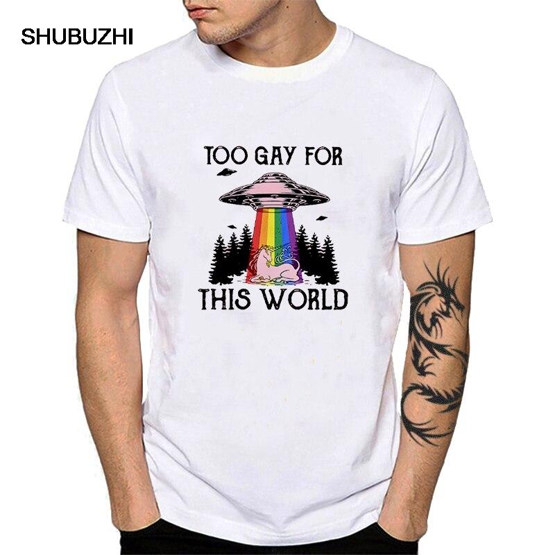 Men Cotton LGBT Tee Shirt Too Gay For This World Short-sleeved Tshirt Gaylien Be Yourself Top Tee Rainbow Skull Homosexual