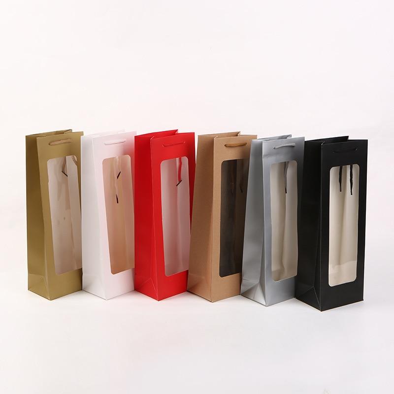 Bolsas de papel sólido Visible, bolsa de papel blanca para ventana transparente para vino, flores, regalo, embalaje, fiesta, Festival, paquete de regalo
