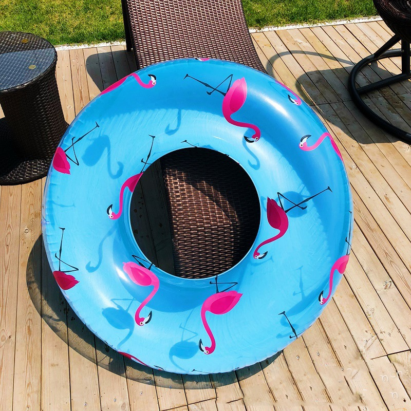 120cm Floral Print Swimming Circle Inflatable Flamingo Swimming Ring Transparent Blue Inflatable Donut Lifebuoy Floating Island women floral print swimming ring pink inflatable flamingo swimming circle inflatable donut lifebuoy girls beach toys 2019 summer