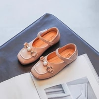 girls shoes 2021 autumn kids pearl princess party baby metal casual shoes fashion mary jane solid black toddlers soft sole flats