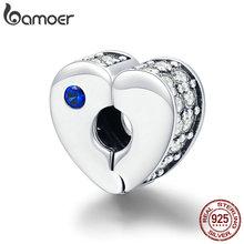 Abalorios BAMOER Plata de Ley 925 auténtica Love Best Wishes con cierre de corazón, pulseras de plata para mujer, fabricación de joyas DIY SCC890