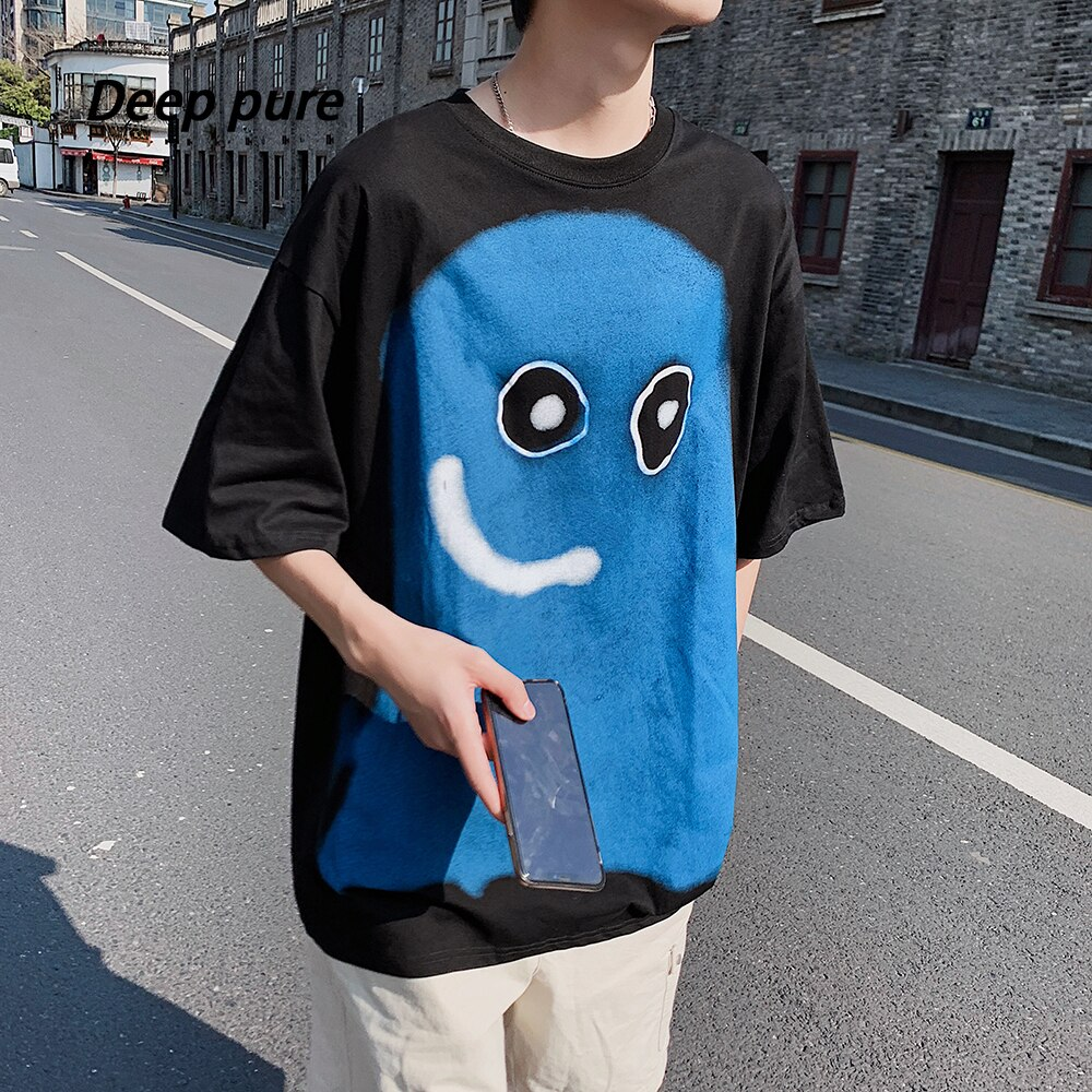 Camiseta blanca de algodón para hombre, camiseta negra de talla grande con estampado de sprite slime azul, camiseta de manga corta de verano para niño