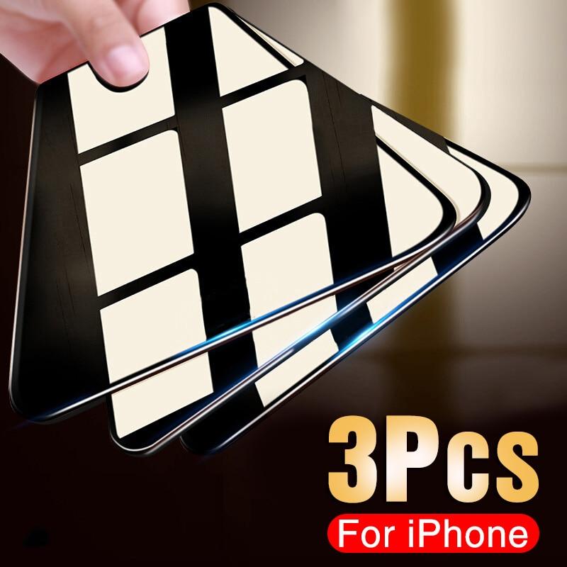 Verre de protection, iPhone 11, Pro, 7, 8, 6, 6s, X, XR et XS, protecteur d'écran trempé, 3 pièces
