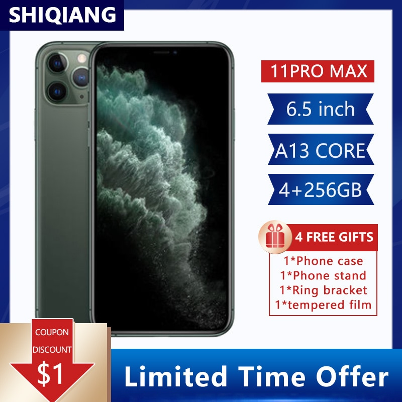 Unlock Original Apple iphone 11 Pro Max Used Cell Phones 6.5Inch 64/256GB AMOLED Display 12+12MP 1SIM Card Smartphones IOS A13