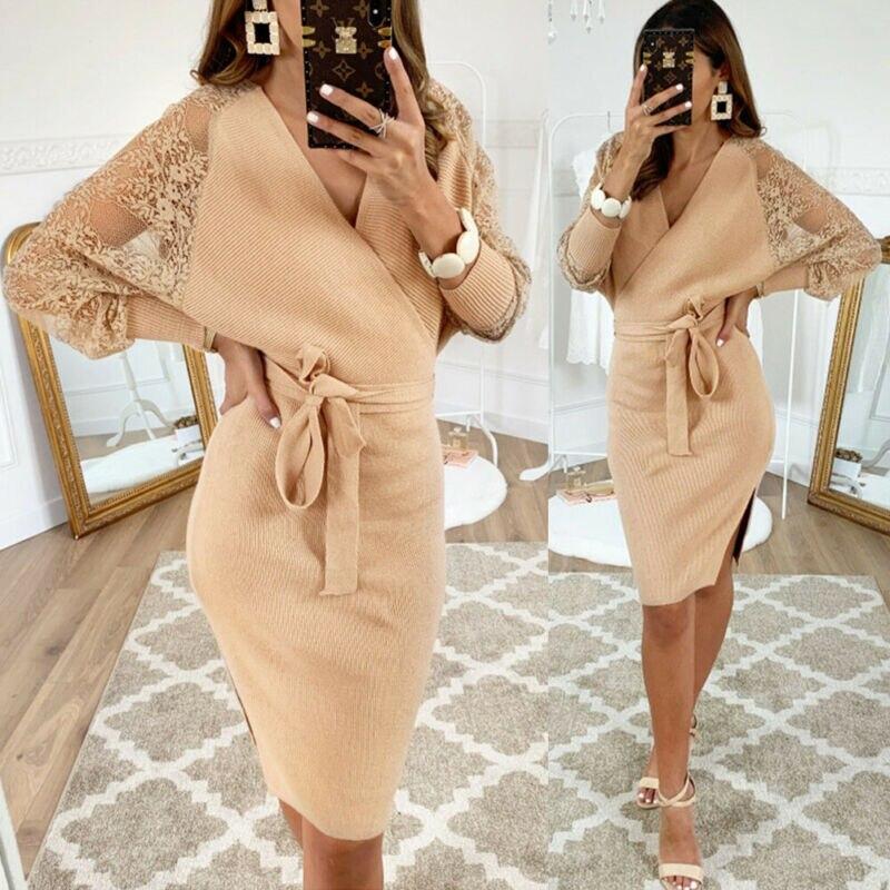 Women Bodycon Dresses Ladies V Neck Knit Tie Front Dress Ladies Mesh Sleeve Party Christmas vestidos