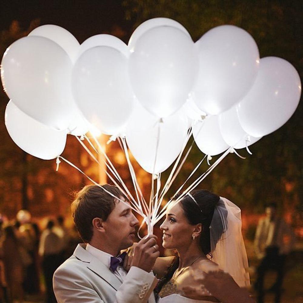 Globo LED de boda de 12 pulgadas y 10 Uds., globo blanco para boda, globo brillante de Mr Mrs, decoración de fiesta con diseño de feliz cumpleaños para niños