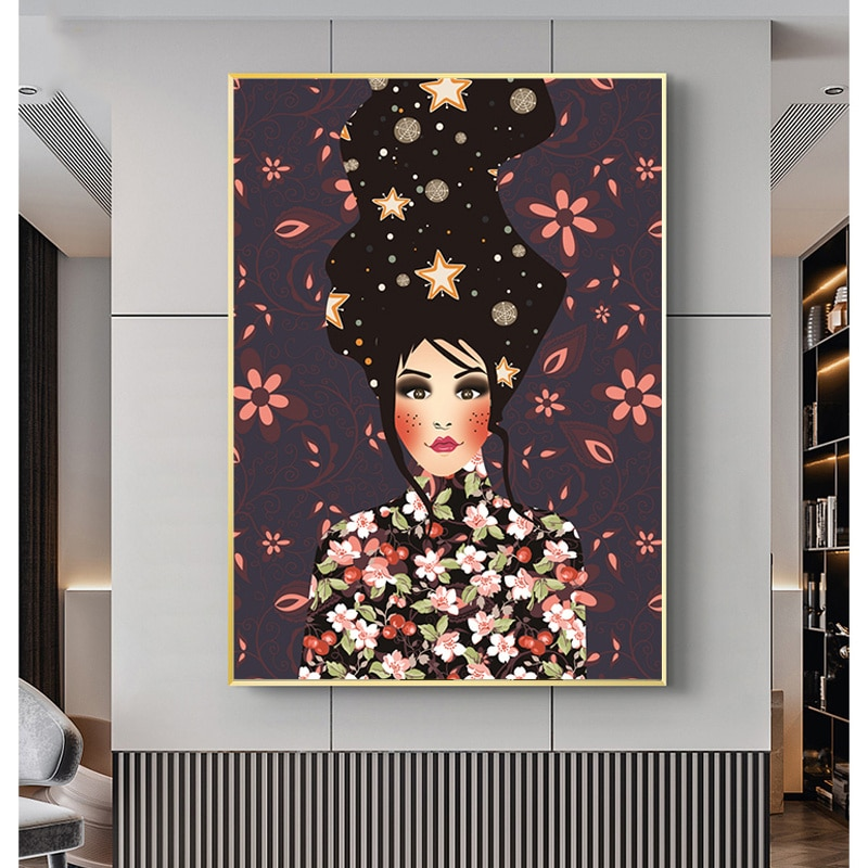 Abstract Art Flower Girl Decorative Painting Plant Woman Wall Posters And Prints Vintage Canvas Pictures For Bedroom Home Decor
