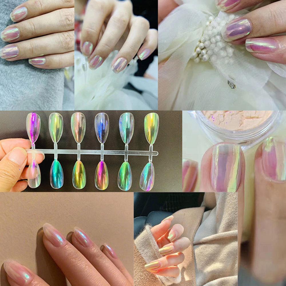 Polvo de neón Aurora para uñas, polvos de brillo sirena, unicornio, pigmento cromado para manicura DIY, 1 caja de 0,3g