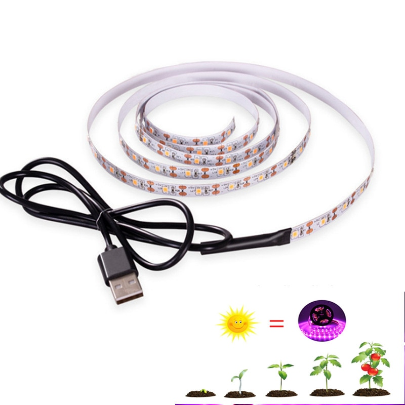 3m led grow light strip full spectrum uv lamps for plants waterproof phyto tape with adapter and switch for greenhouse grow tent LED Grow Light Full Spectrum USB Led Strip 0.5m 1m 2m 3m DC5V 2835 LED Phyto Tape for Seed Plants Phytolamp for Plant Grow Light