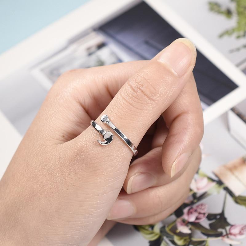 Punto y coma anillos chica ajustable plateado anillo para mujeres de moda de la salud Mental elegante regalos anillo inspiración Nueva joyería de estilo
