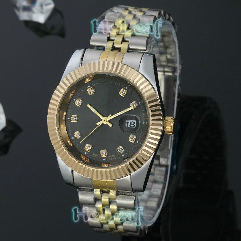 Reloj de lujo para Mujer, gran oferta, relojes de marca R para hombre, Reloj de cuarzo de acero dorado plateado, Reloj negro, Reloj de Mujer, regalo femenino