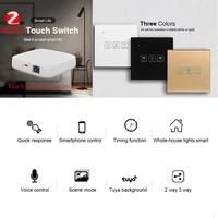 Interrupteur mural tactile Intelligent  Tuya ZigBee3 0  controle via application  compatible Alexa et Google Home  neutre