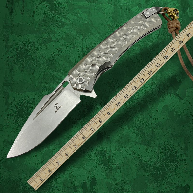 Titanium Alloy Handle Outdoor Self-Defense D2 Steel Folding Knife High Hardness and Sharp Camping EDC Tool for Men enlarge