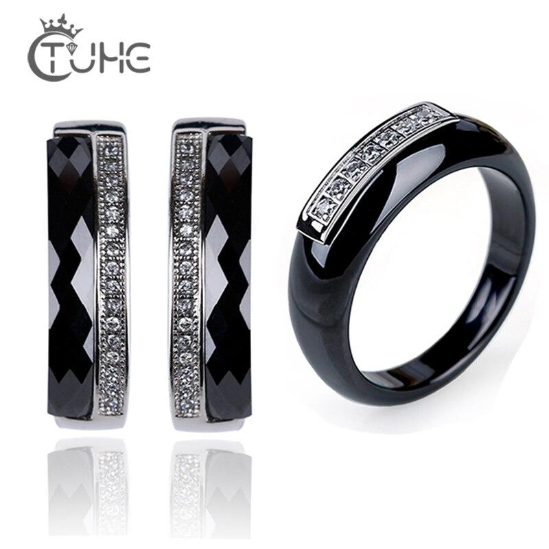 Moda de aço inoxidável cerâmica estrangeiro anéis brincos aaa saudável cz cristal conjuntos jóias para o casamento feminino moda jóias presentes