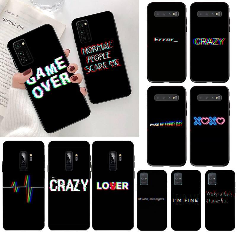 Texto de Color sobre un fondo negro personalizado foto funda de teléfono suave para Samsung S20 plus Ultra S6 S7 borde S8 S9 más S10 5G lite 2020