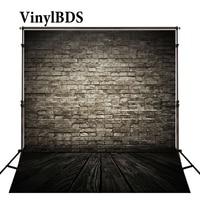 VinylBDS Newborn Baby Photo Background Bright Gray Brick Wall Photography Backdrop Dark Wood Texture Floor For Photo Shoot
