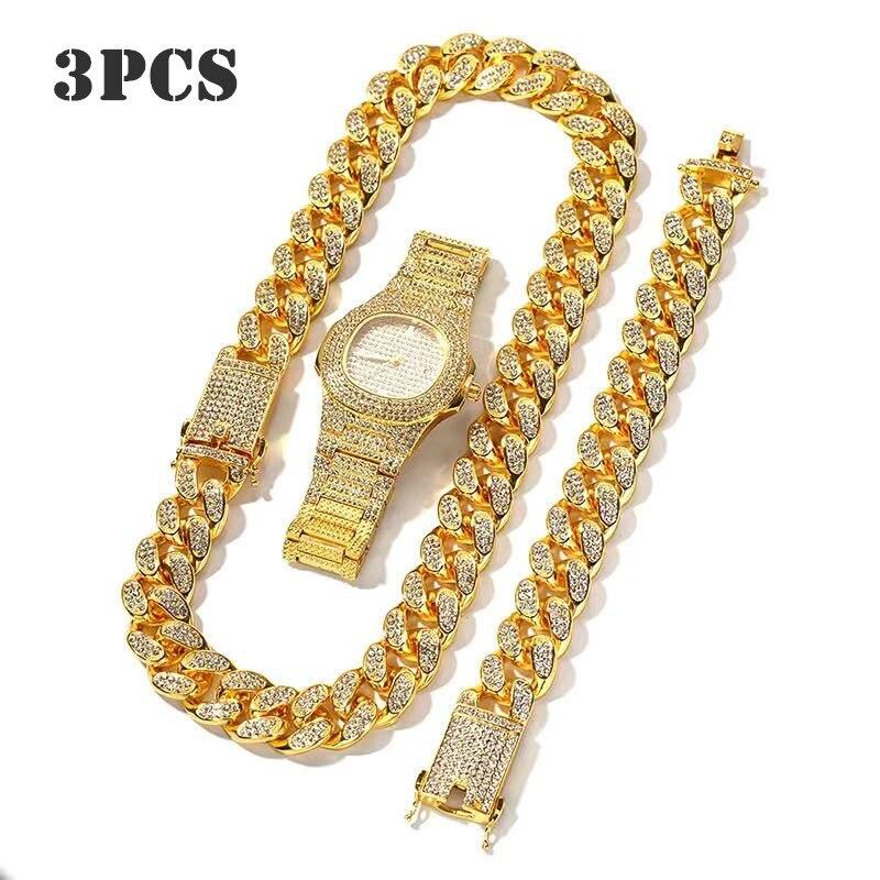3 Pcs Necklace+Watch+Bracelet Hip Hop Miami Cuban Chain Gold Color Iced Out Paved Rhinestones CZ Bling Rapper Men Jewelry Joyas