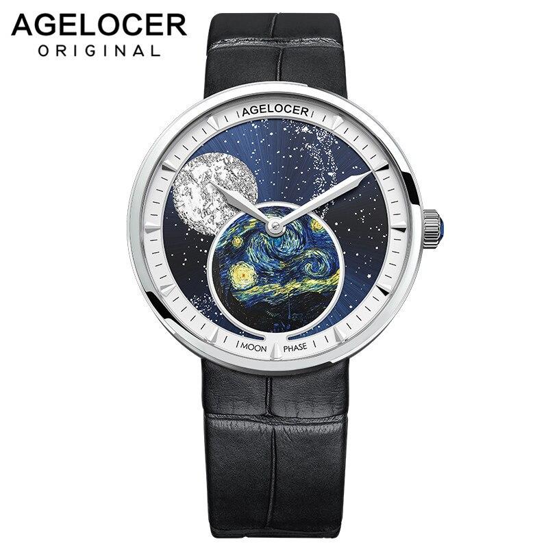 AGELOCER Moon Phase Womens Watches Van Gogh Top Brand Luxury Waterproof Watch Fashion Ladies Ultra-Thin Wrist Watch Quartz Clock