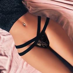 Lingerie feminina sexy g-string briefs malha roupa interior t calcinha corda hollo thongs wknick cintura baixa de alta qualidade