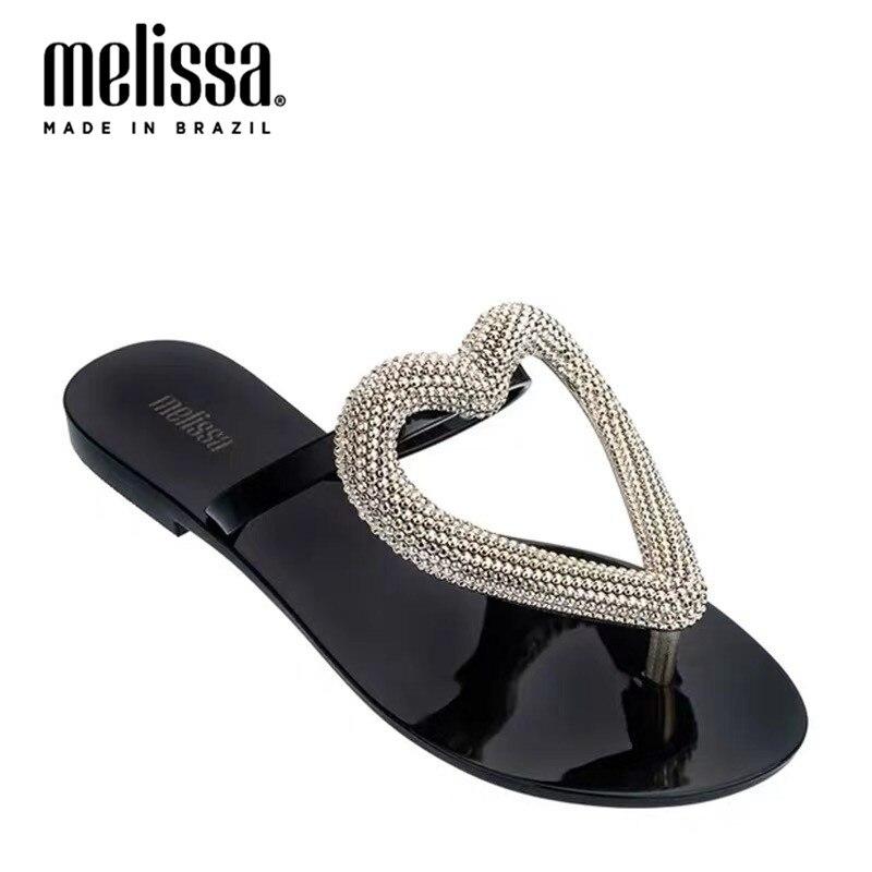 Melissa/Женская обувь с большим сердцем; Желе-Вьетнамки; Новинка 2020 года; Женские тапочки; Брендовая прозрачная обувь; Melissa; Бразильская женская прозрачная обувь