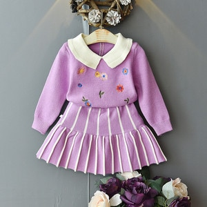 2020 New Girls Baby Knit Clothing Set Sweaters+skirt Flowers Embroidery Girl Kids Autumn Winter Princess Suits Children Clothes