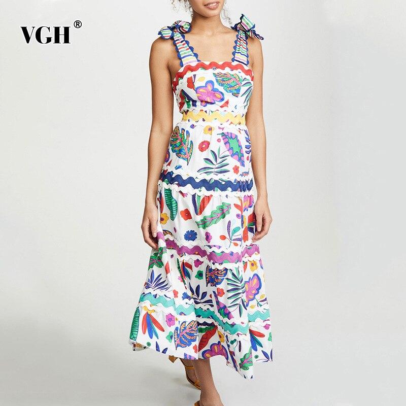VGH Vintage Print Bowknot Womens Dress Square Collar Off Shoulder Sleeveless High Waist Large Size Dresses Female 2019 Fashion