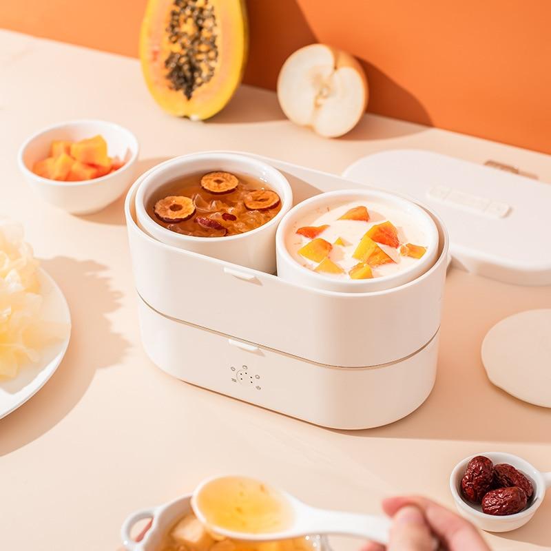 900ml Electric Lunch Box Mini Bento Box Protable Rice Cooker Steamer Stew Pot Porridge Soup Food Warmer Hotpot Cooking Pot 220V