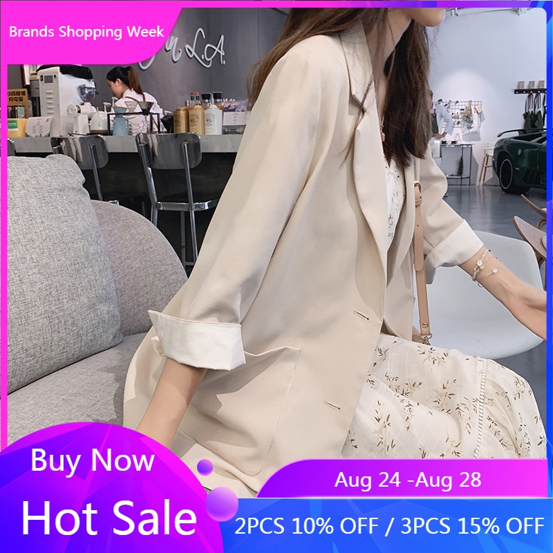Mishow 2019 femmes à manches longues couleur unie col rabattu manteau nouveau coréen dames Cardigan veste costume Blazer haut MX19B6115