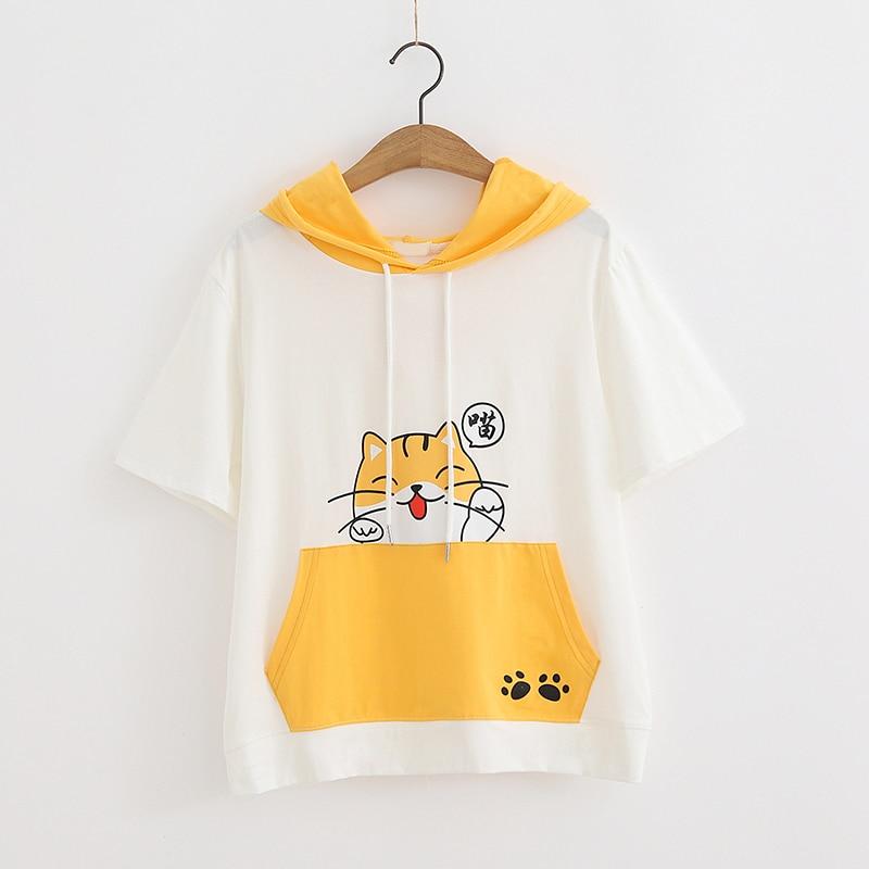 Camiseta de Anime Cat Kawaii para mujeres, ropa Casual linda, camisetas gráficas de dibujos animados de verano, camisetas rosas con capucha para chicas Mori universitarias, camisetas con capucha para mujeres
