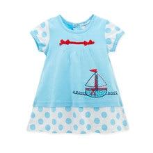 Honeyzone Baby Girl Dress Vestidos Robe Bebes Fille Dot Printing Cotton Roupa De Bautizo Short Sleeve Blue Color Birthday Dress