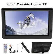 Televisión analógica Digital portátil al aire libre de 10,2 pulgadas 12V DVB-T/DVB-T2 TFT LED HD TV soporte TF tarjeta USB Audio coche televisión