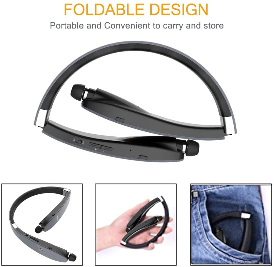 Bluetooth Headphones Wireless Neckband Headset Retractable Earbuds Noise Cancelling Stereo Earphones for Workout Running Driving enlarge