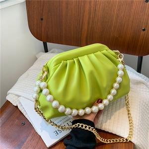 Women New Shoulder Bag Fashion Pearl Chain Crossbody Bag High-quality Soft Leather Handbags Women Luxury Phone Pack Casual Purse