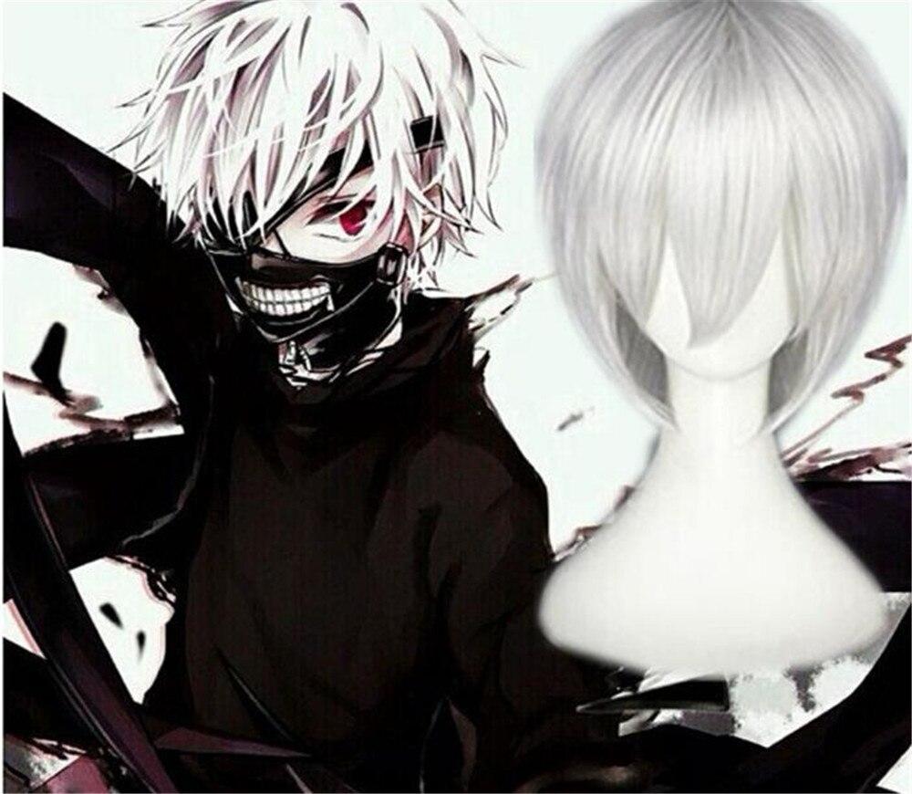Anime Tokyo Ghoul Kaneki Ken corto plata blanco resistente al calor pelo Cosplay disfraz peluca A1060
