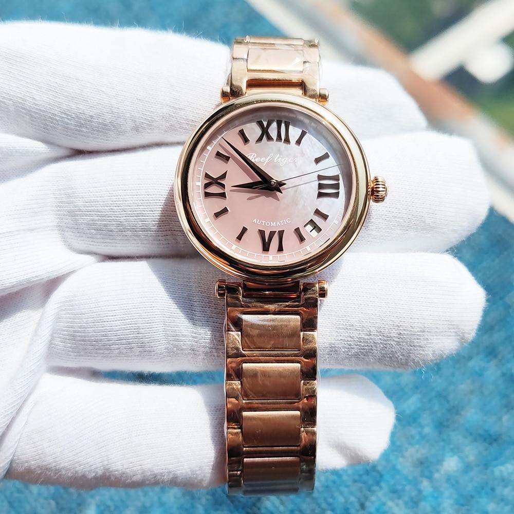 Reef Tiger/RT 2021 Top Brand Luxury Women Automatic  Watch Rose Gold Ladies Bracelet Watches Date Relogio Feminino RGA1595 enlarge