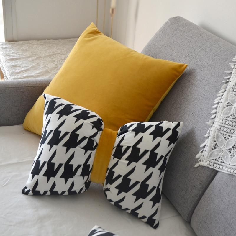 الشمال الحديثة نقية فاخرة الأصفر hh9 stبتقنية وسادة أريكة المخدة وسادة وسادة مع ملء الخصر بالجملة MF037