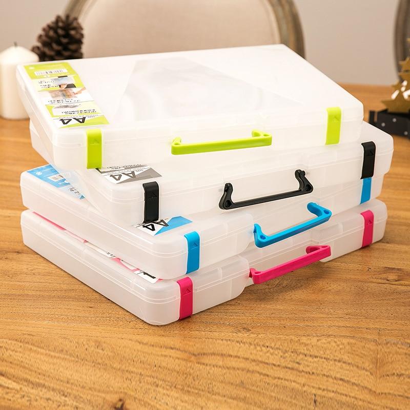 Креативная многофункциональная прозрачная коробка для файлов формата А4 портативная пластиковая большая емкость для хранения документов ...