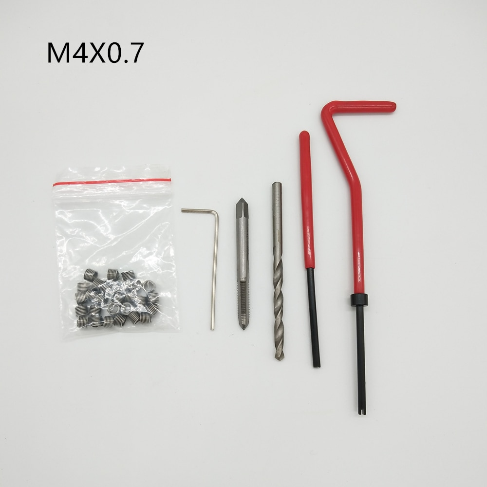 M4X0.7 coche Pro bobina taladro herramienta Métrica Kit de inserción y reparación de bobinas para Helicoil coche herramientas de reparación de grueso palanca