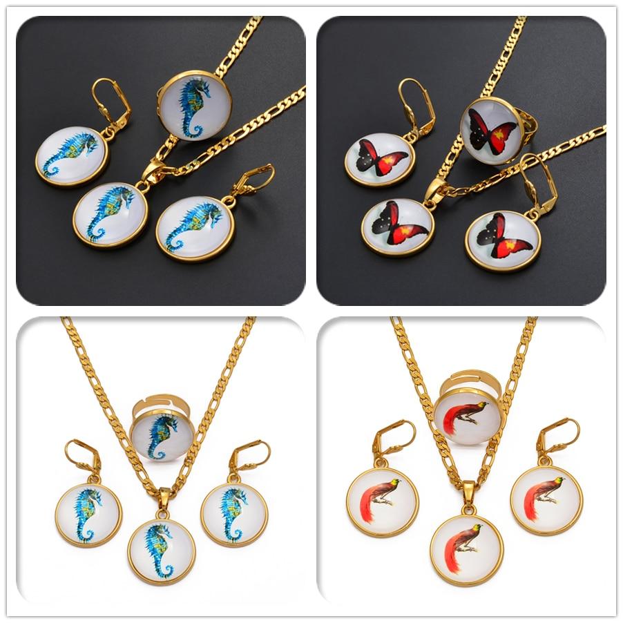 Anniyo redondo seahorse borboleta pássaro pingente colares brincos anel papua nova guiné conjuntos de jóias para meninas femininas #018516