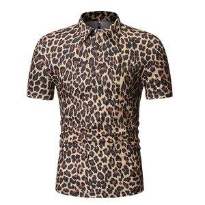 PYJTRL Men Fashion Leopard Print Polo Shirt